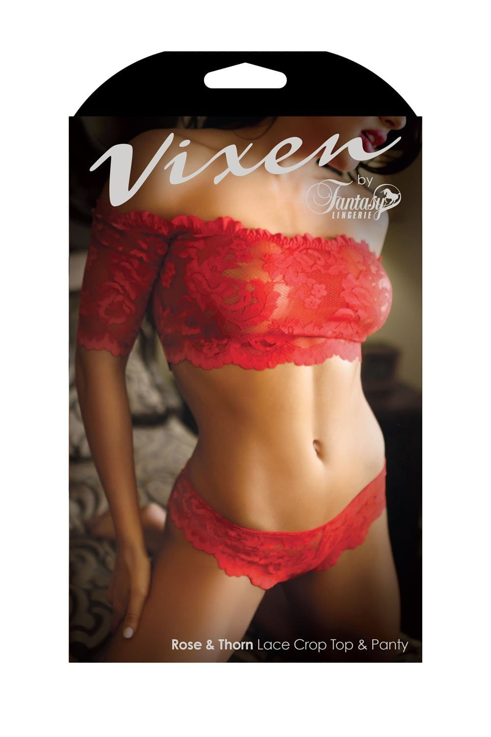rose thorn lace crop top panty queen size