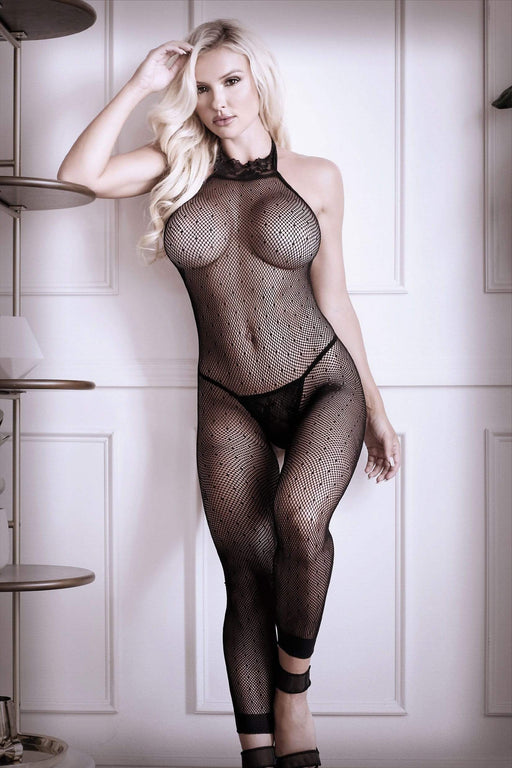 Sexy Lingerie Megastore feelin myself halter dot mesh footless bodystocking one size