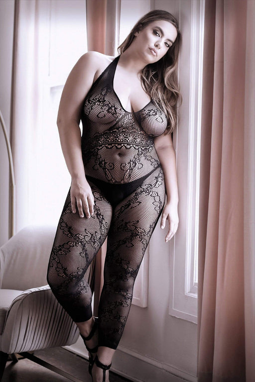 Sexy Lingerie Megastore good as hell halter lace footless bodystocking queen size