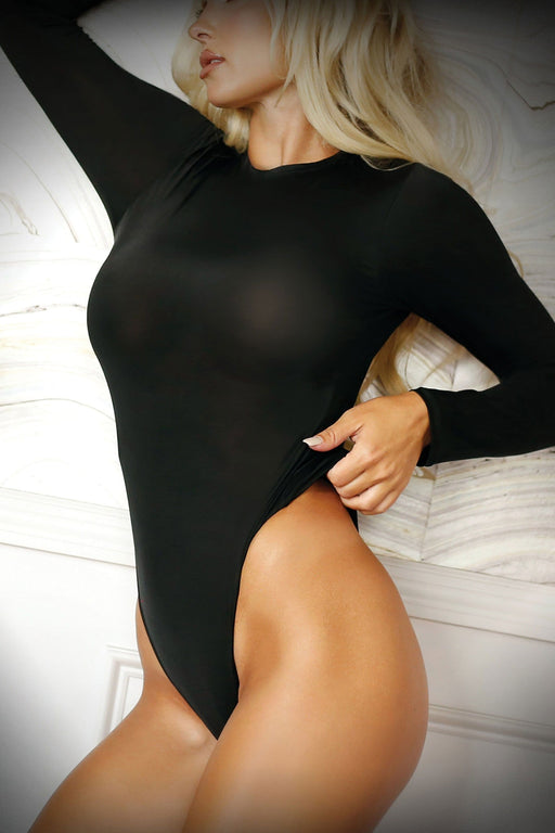 Sexy Lingerie Megastore up all night long sleeve opaque bodysuit with snap closure one size