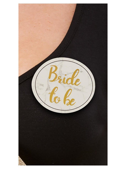 Hen Party Pin Badges - White and Gold - Pack of 5