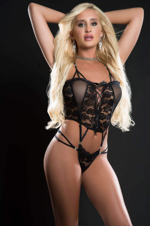 1pc butterfly teddy with daring lace up front thong and see through detail one size blackout