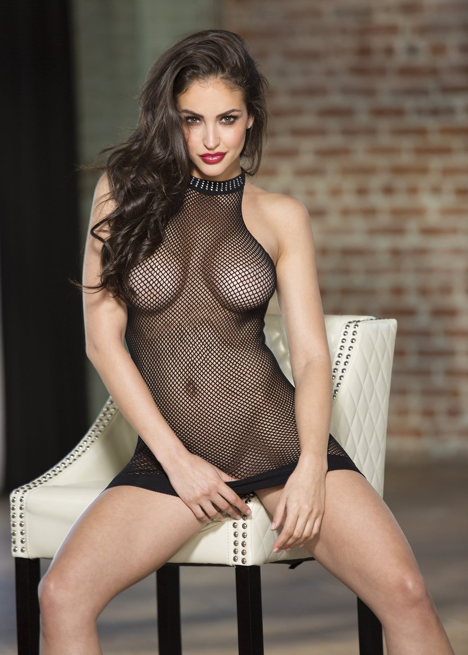 stretch fishnet halter neck chemise with rhimestone trim one size black