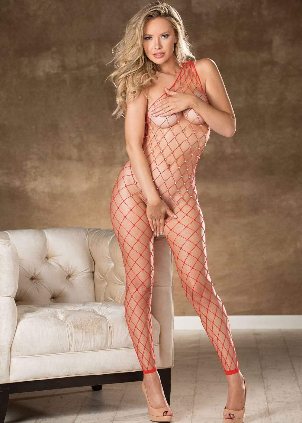 fishnet bodystocking with stones one size red