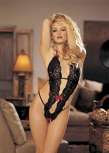stretch lace peek a boo teddy with bows one size black