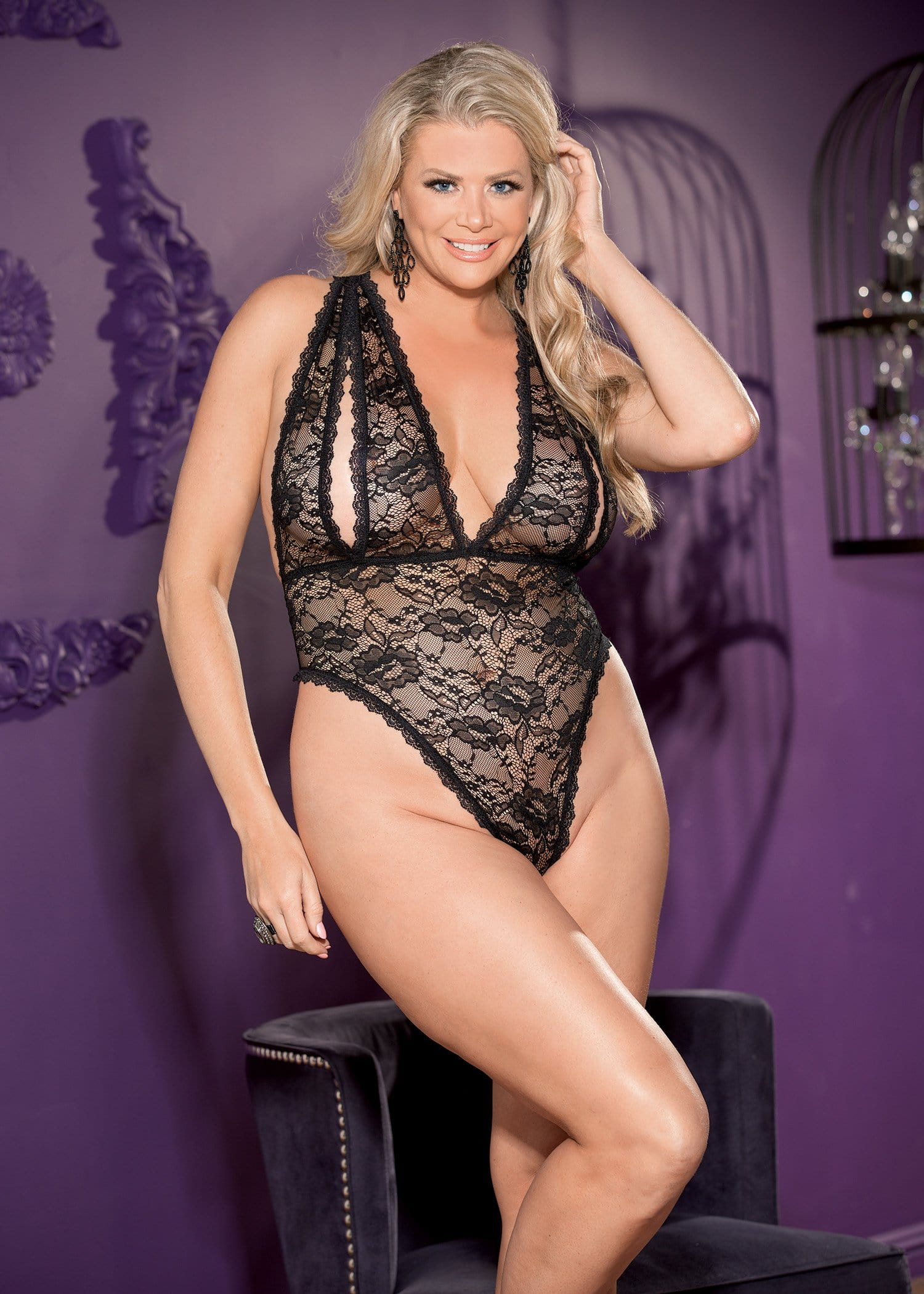 stretch lace and peek a boo teddy queen size black