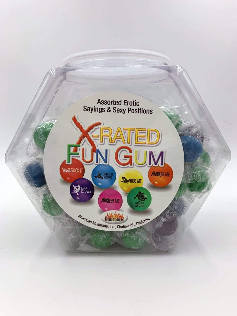 x rated fun gum 90 piece bowl assorted