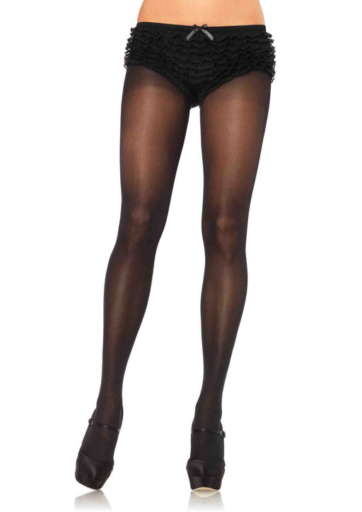 opaque tights with cotton crotch one size black