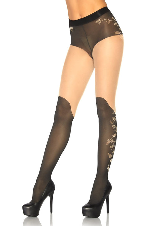 spandex sheer french cut pantyhose with over the knee boot detail and floral accent one size black