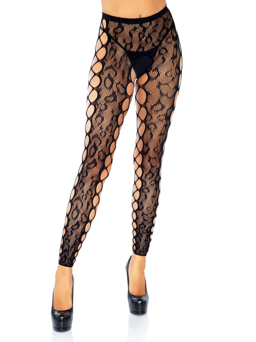 footless leopard lace crotchless tights black