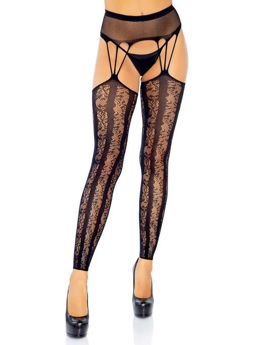 lace footless stockings with attached fishnet garter belt black