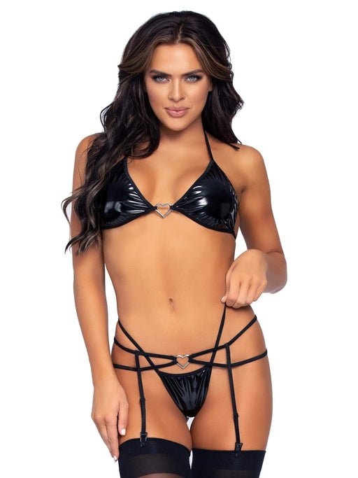 BUY NOW ONLINE 3 Pc Vinyl Bikini Top G String and Garter Belt Set Small  Medium   Black