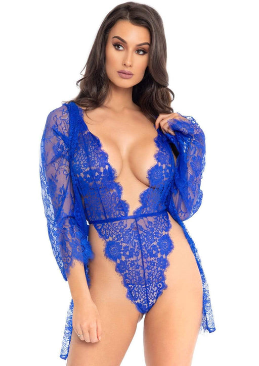 3pc lace teddy and robe set royal blue small cheap sex toys