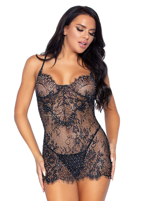 25% OFF | 2021 Best Deals |  2 pc rhinestone lace dress and g string medium black
