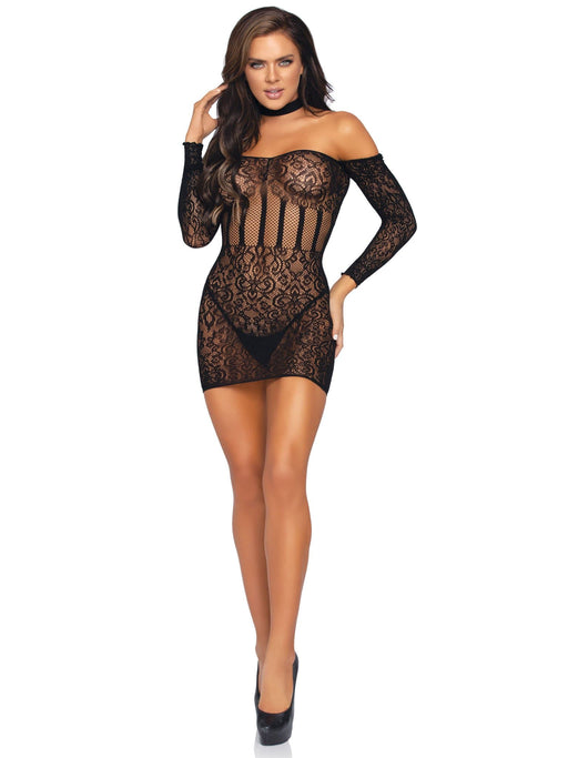 lace halter choker mini dress one size black