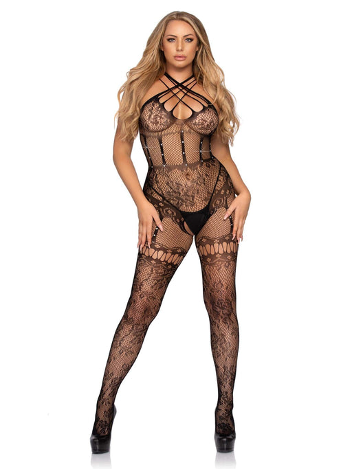 25% OFF | 2021 Best Deals |  strappy lace bodystocking with rhinestone detail one size black