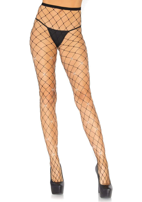 25% OFF | 2021 Best Deals |  crystalized fence net tights one size black
