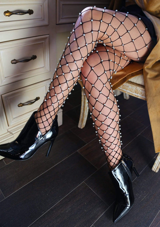 faux pearl net tights one size black cheap sex toys