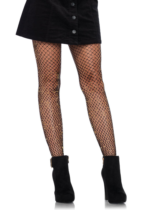 lurex industrial net tights one size black gold