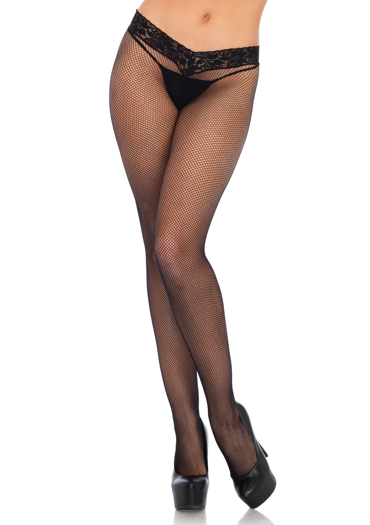 lace top micro net tights one size black