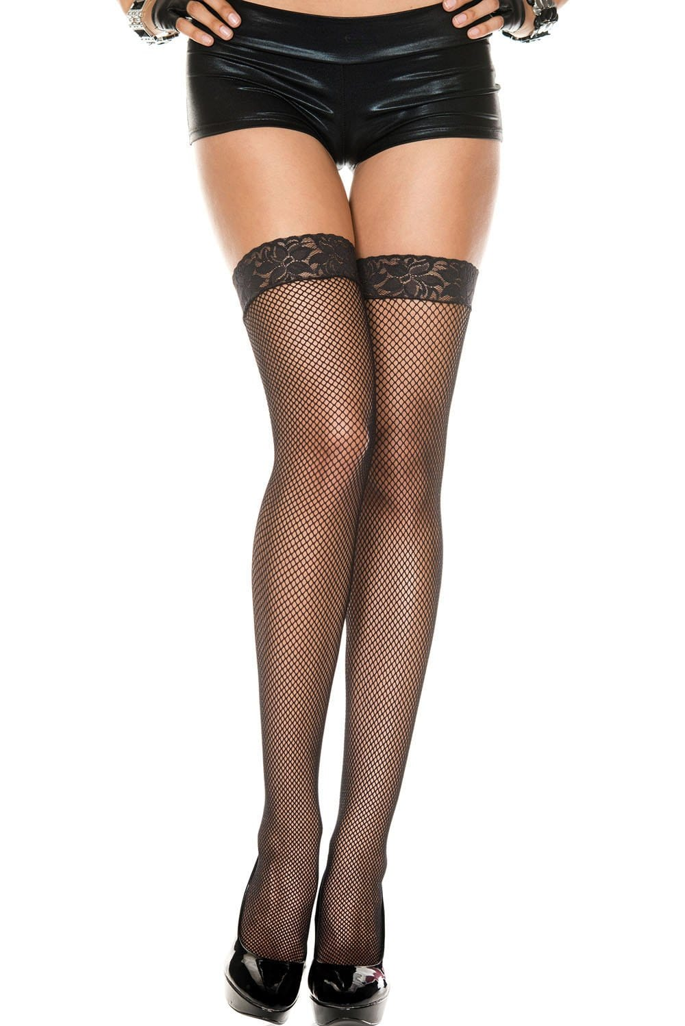 lace top fishnet thigh hi one size black 1