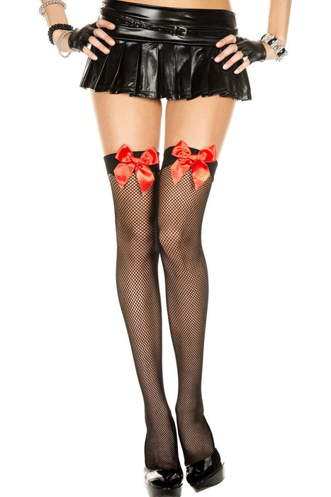 satin bow fishnet thigh hi one size black red