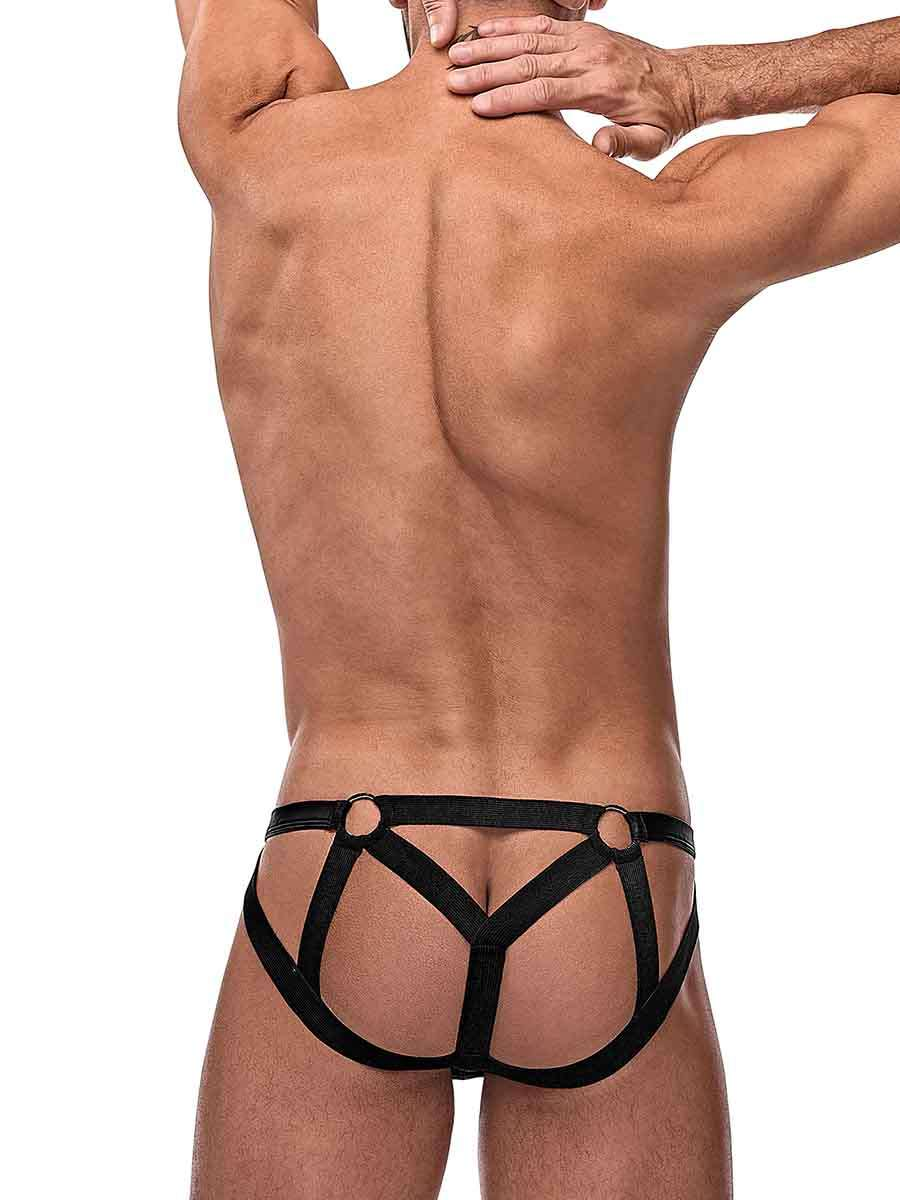 cage matte strappy ring jock l xl black