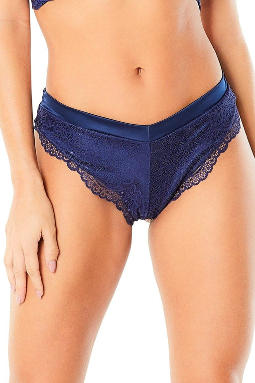 high leg lined thong with crossing back straps estate blue extra large
