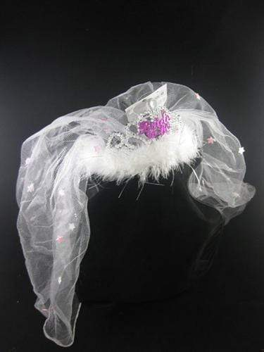 flashing bride to be tiara with a white fur veil
