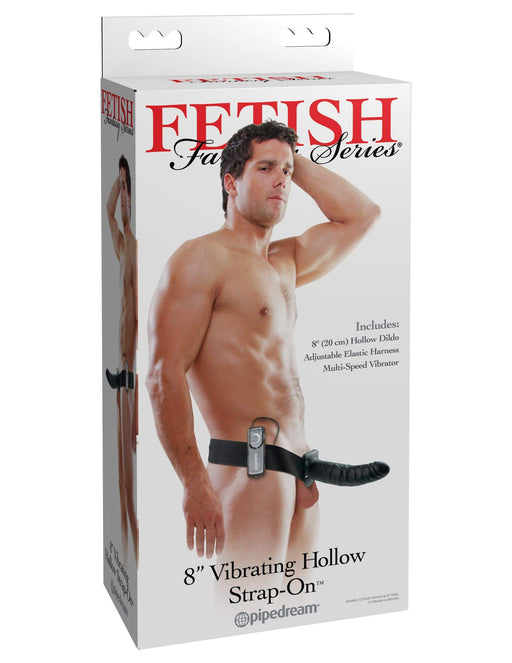 fetish fantasy series 8 inch vibrating hollow strap on black