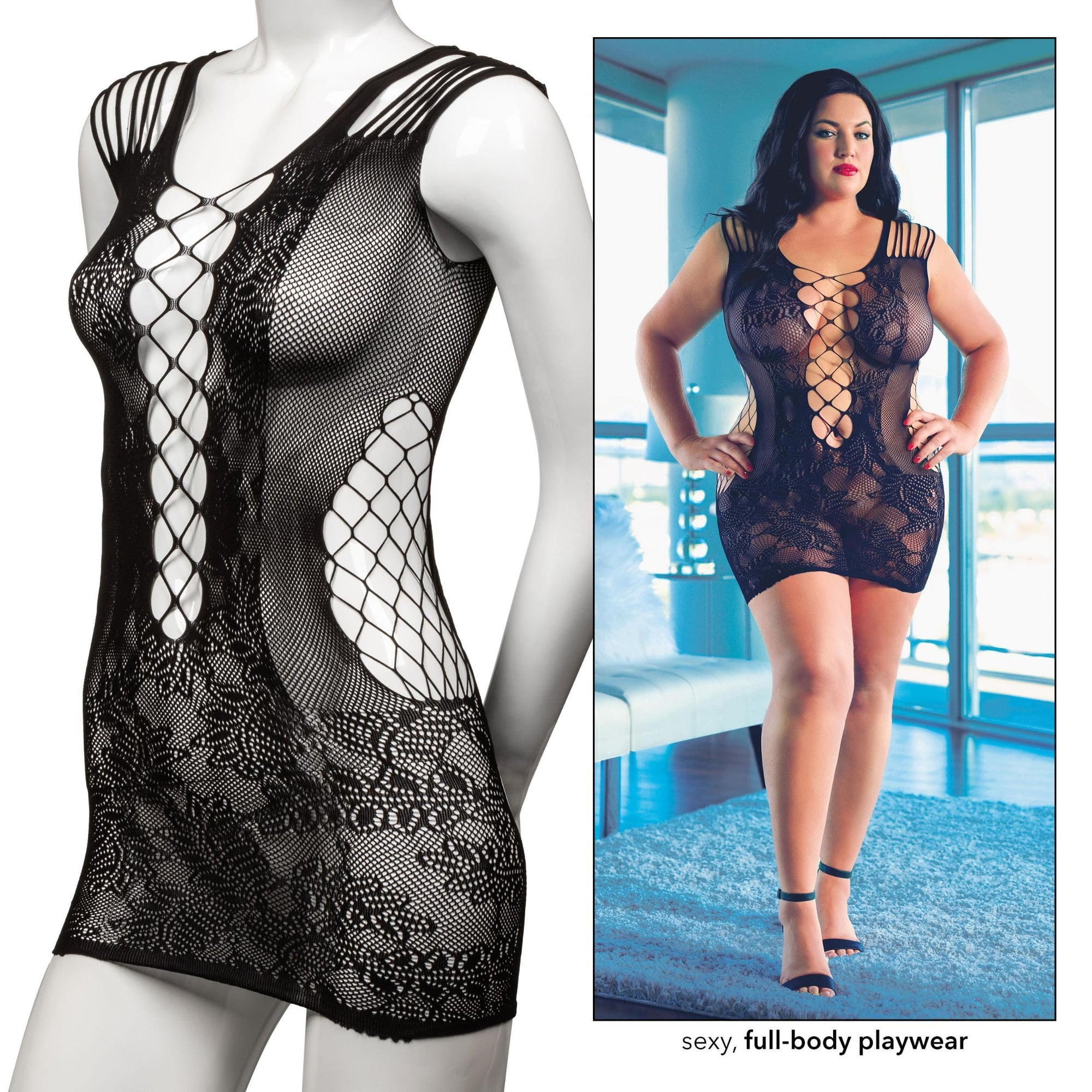 calexotics   scandal plus size peek a boo mini dress plus size black