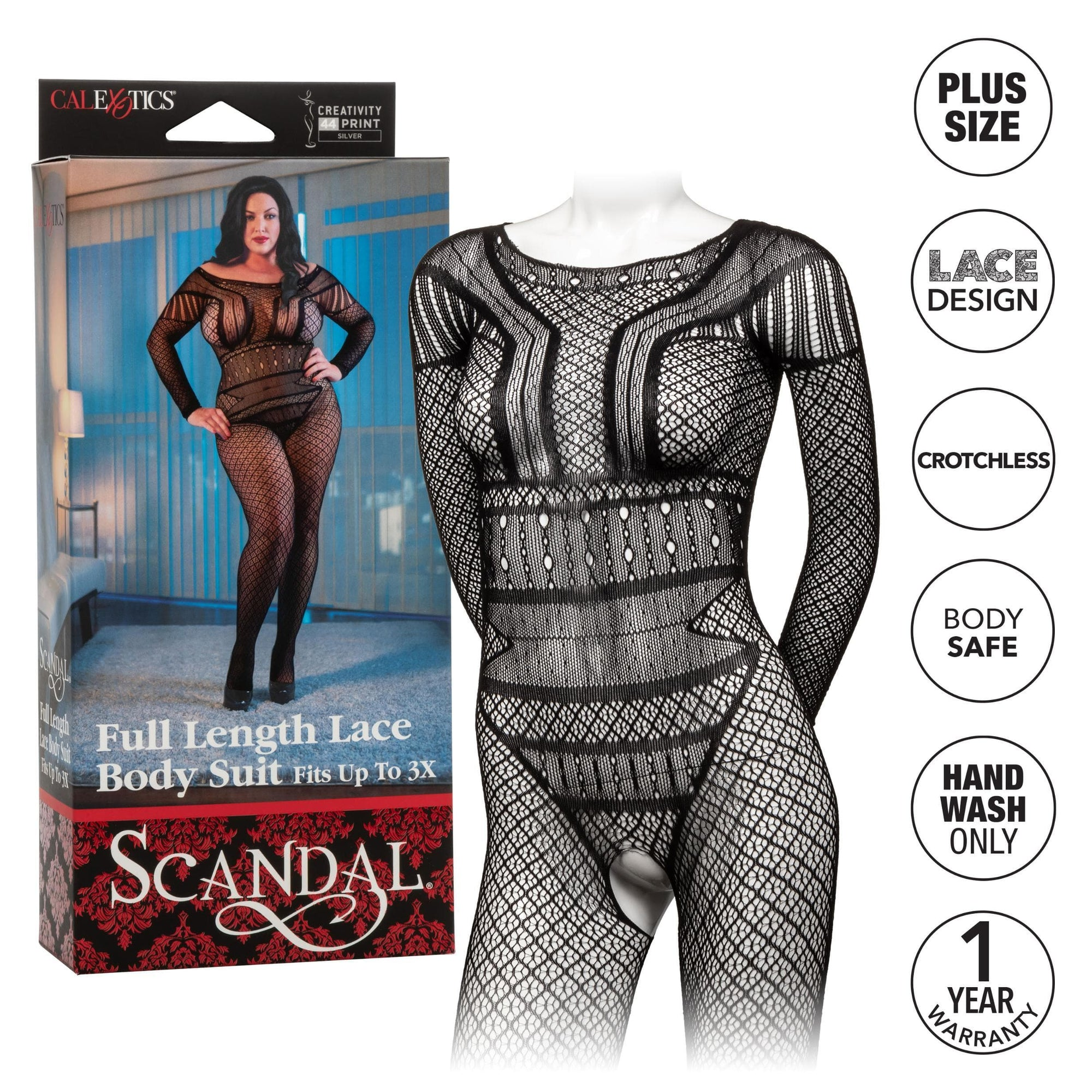 calexotics   scandal plus size full length lace body suit plus size black