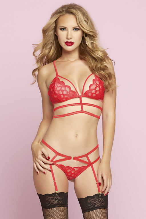 Lingerie Megastore tide of passion bra set one size red