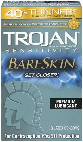 trojan sensitivity bareskin lubricated condoms 10 pack