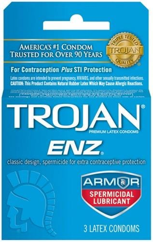 trojan enz armor spermicidal lubricated condoms 3 pack