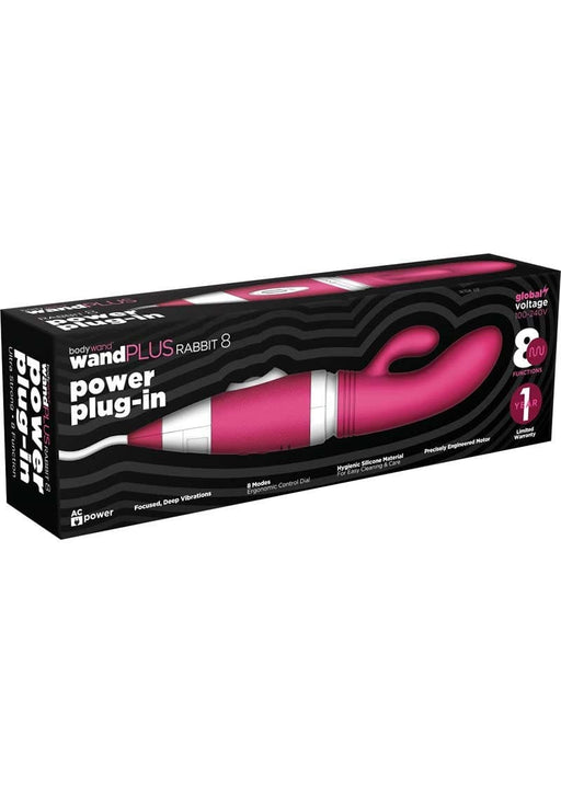 bodywand wand plus rabbit 8 power plug in silicone vibe pink