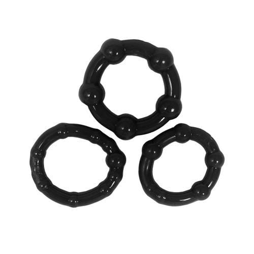 stay hard beaded cockrings 3 pack black cheap sex toys
