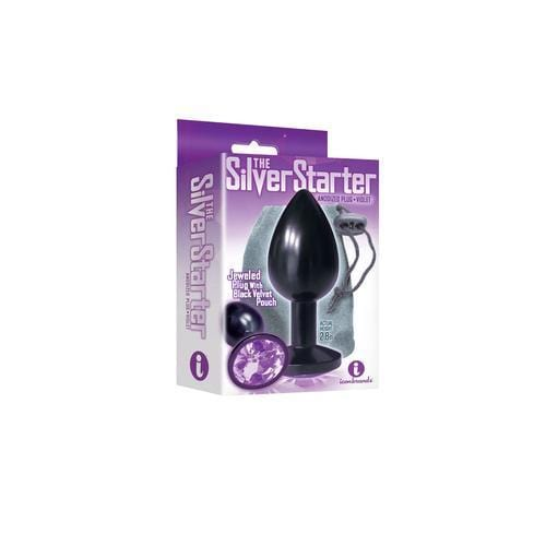 the 9s the silver starter anodized bejeweled stainless steel plug violet cheap sex toys