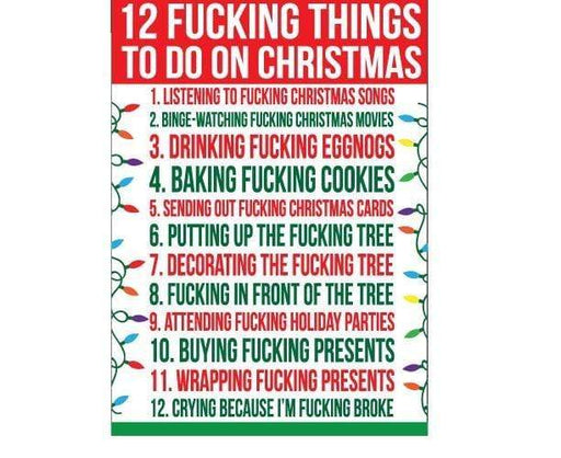 12 fucking things to do on xmas gift bag
