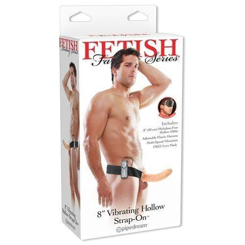 fetish fantasy series 8 inch vibrating hollow strap on flesh