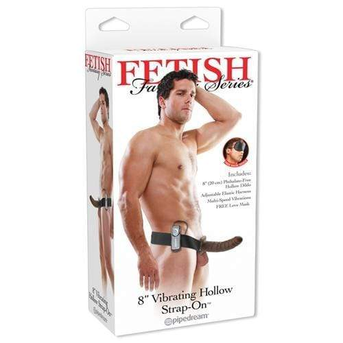 fetish fantasy series 8 inch vibrating hollow strap on brown