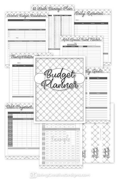 Budget Planner & Promotional Resources - Black and White