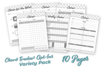 Lifestyle Starter Pack Chore Tracker Variety Pack Black and White