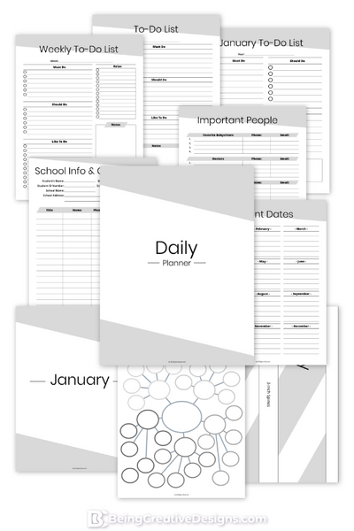 Daily Planner Minimal Black and White