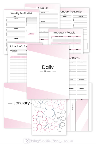 Daily Planner - Minimal Pink