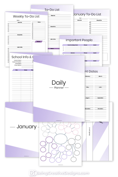 Daily Planner - Minimal Purple