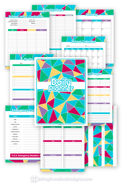 Daily Planner {130+ Pages} - Bright