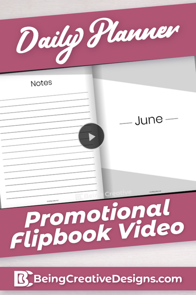 Daily Planner Promotional Flipbook Video - Minimal Black and White