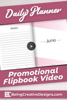 Daily Planner Promotional Flipbook Video - Minimal Pink