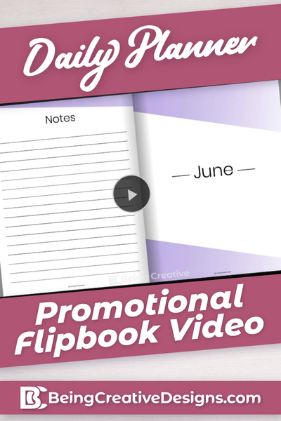 Daily Planner Promotional Flipbook Video - Minimal Purple